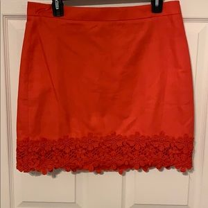 NWT JCrew Red Skirt with Embroidered Detail